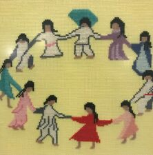 Beautiful Framed Cross Stitch Of Ladies Holding Hands In Circle 13x14