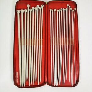 Vintage Bernat Aero Knitting Needles 24 Pieces Complete Set in Red Case England
