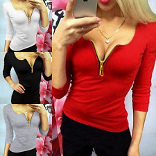Winter Womens Long Sleeve Sexy V Neck Blouse Shirt Tops Ladies Casual T-shirt