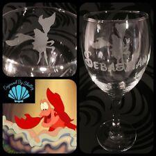 Disney La Sirenita, Sebastian Cangrejo Copa De Vino libre nombre grabado! Ariel