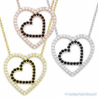 Two-Heart Charm Cubic Zirconia CZ Crystal Pendant .925 Sterling Silver Necklace