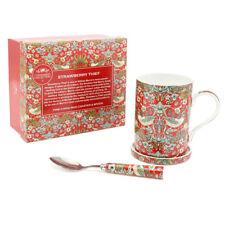 William Morris Strawberry Thief BIRD Fine Bone China Mug Coaster et Cuillère Set