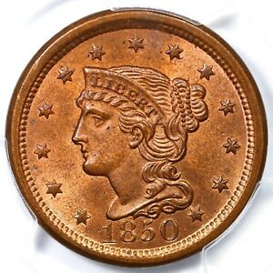 1850 N-7 PCGS MS65RB Braided Hair Large Cent Coin 1c