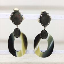 Vtg Philippe Ferrandis Paris XL Abalone Resin Designer Clip Earrings Signed
