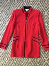St John Collection Red  Zip Up Santana Knit Jacket  Sz 4 MINT!