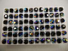 24 Swarovski MC round crystal beads,9mm Jet AB #5000