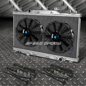 "2-ROW ALUMINUM RADIATOR+2X 12""FAN BLACK FOR 02-06 ACURA RSX TYPE-S/INTEGRA DC5"