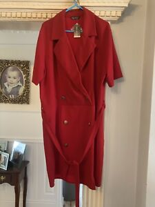 Red Double Breasted Blazer Dress Size 18 Brand New