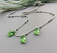 925 Sterling Silver Peridot green Genuine Crystal Necklace beaded chain