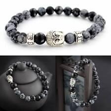 Natural White Spot Stone Bead 8mm Tibet Silver Buddha Lucky Man Fashion Bracelet