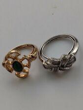 VINTAGE AVON  RHINESTONE SILVER RING & GOLD TONE RING - (2 Rings) MARKED