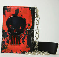 The Punisher Tri-Fold Chain Wallet Red Marvel Comics Heroes Skull New With Tag