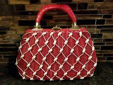 Vintage Wicker Vinyl Beaded Handbag Cherry Red British Hong Kong Purse