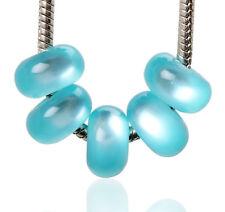 Lots 20pcs Cyan Cat-eye Styles Resin Big Hole Beads Fit European Bracelet Charm