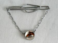Vintage 1970's Silver Tone Tie Pin & Chain with Rock Crystal Horse Head.