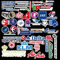 Vintage Airline Waterproof PVC Sticker Skateboard Suitcase Stickers 55pcs/lot