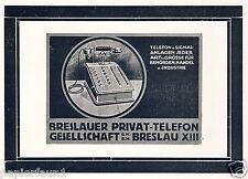 Privé de téléphone GmbH Wroclaw Orig. Publicité 1924 signal Installation TELEPHONE PHONE AD