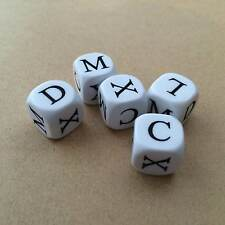 5 x Roman Numeral Dice (set 2) - 6 Sided White Dice - UK Seller (D036)
