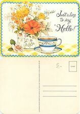 USA - A Cup of Tea with fowers - Just a Line to say Hallo (S-L XX182)