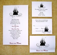 100 Personalized Custom Cinderella Castle Disney Wedding Invitations Cards Set