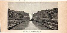 Stampa antica GRECIA veduta del Canale Istmo di Corinto Greece 1910 Old print
