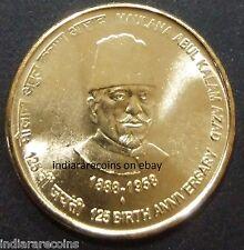 India Inde Indien Journalist Maulana Abul Kalam Azad UNC New 2013 Brass 5 Rs