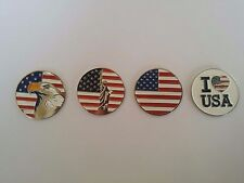 4 pcs OF US Flags(Eagle,Statue of Liberty) GOLF BALL MARKER for Golf Hat Clip