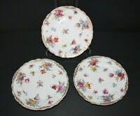 SET OF 3 ANTIQUE DRESDEN GERMANY HAND PAINTED FLORAL DESSERT SIDE PLATES