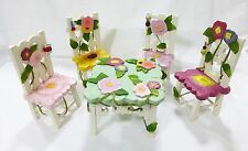 Delton Collectibles dolls wooden floral table 4 chairs picnic set, butterfly
