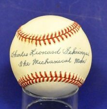 "Charles Leonard Gehringer Signed OAL Baseball he added ""The Mechanical Man"""