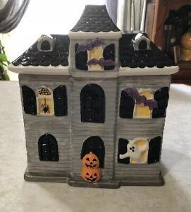 CHERYL's Halloween Haunted Mansion Ceramic Cookie Candy Jar Ghost Pumpkin 2017