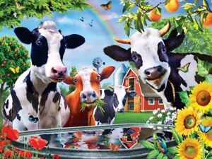 Jigsaw Puzzle Animal Selfies Moo Love Cows 300 EZ Grip over sized pieces NEW