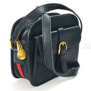 Vintage GUCCI Leather Camera Crossbody Bag Navy Blue Web Trim Size Small