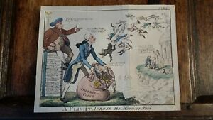 1800 SATIRICAL PRINT - ISAAC CRUIKSHANK - A FLIGHT ACROSS THE HERRING POOL