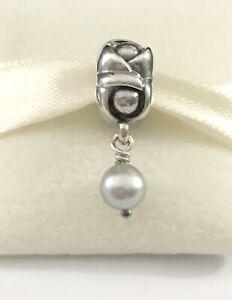 Pandora Silver ROSE & PEARL Gray Dangle Charm Flower 790497GP + Box Authentic