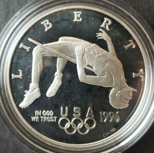 1996 P Proof $1 Atlanta Centennial Olympics Games Commemorative Silver Dollar
