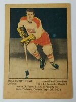 1951 - 1952 PARKHURST ROSS ROBERT LOWE NHL HOCKEY CARD ORIGINAL MONTREAL VINTAGE