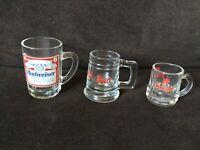 Set of 3 Vintage Budweiser and Coors  Beer Mini Mugs tankards  / Shot Glasses