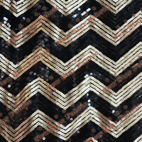 "Chevron Zigzag Sequin Fabric 55"" Width By The Yard Black / Gold"