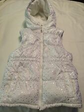Athletech Size Girls 14/16 White Silver Stars Puffy Vest With Hood Fleece Lined