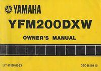 1989 YAMAHA ATV YFM200DXW OWNER'S MANUAL LIT-11626-06-63 (488)