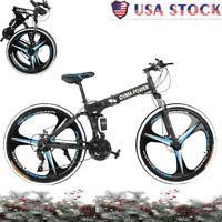 """26"""" Folding Mountain Bike Shimano MTB Bicycle 21 Speed Full Suspension Xmas Gift"""