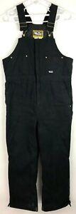 Walls Workwear Mens Bib Overalls Black Pocket Lined 100% Cotton L