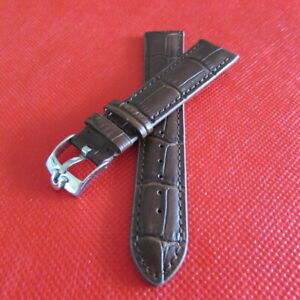 REPLACEMENT CLASSIQUE  OMEGA  LEATHER WATCH BAND BROWN  WITH 19MM SILVER BUCKLE