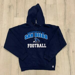 Vintage San Diego Football USA Uni College Logo Print Pullover Hoodie Blue Small