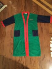 RARE VTG Late 70'S ADIDAS TREFOIL COLOR BLOCK TERRY ROBE SMALL