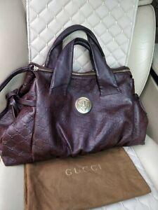 Gucci Hysteria Guccissima Top Handle Womens Tote Bag Brown Leather Purse 197021