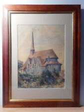 Tableau peinture peintre Jean NICOL eglise bretonne Finistère Bretagne Morlaix