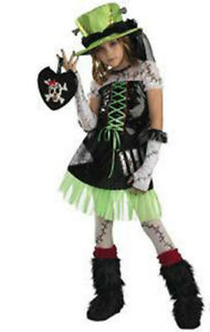 Monster Bride Green Black Dress Hat Costume Child 7-8 10-12 NWT
