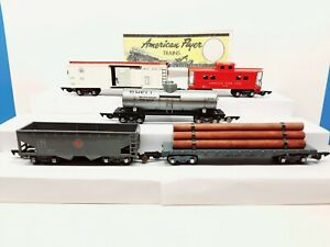 American Flyer #633  Freight 5 car lot w/ link couplers